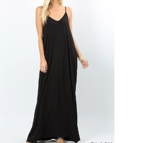 Plus Size Harem Maxi Dress Adjustable Straps Black